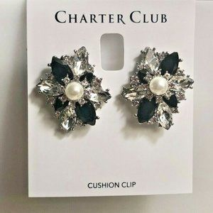 Charter Club Crystal & Pearl Clip-On Earrings